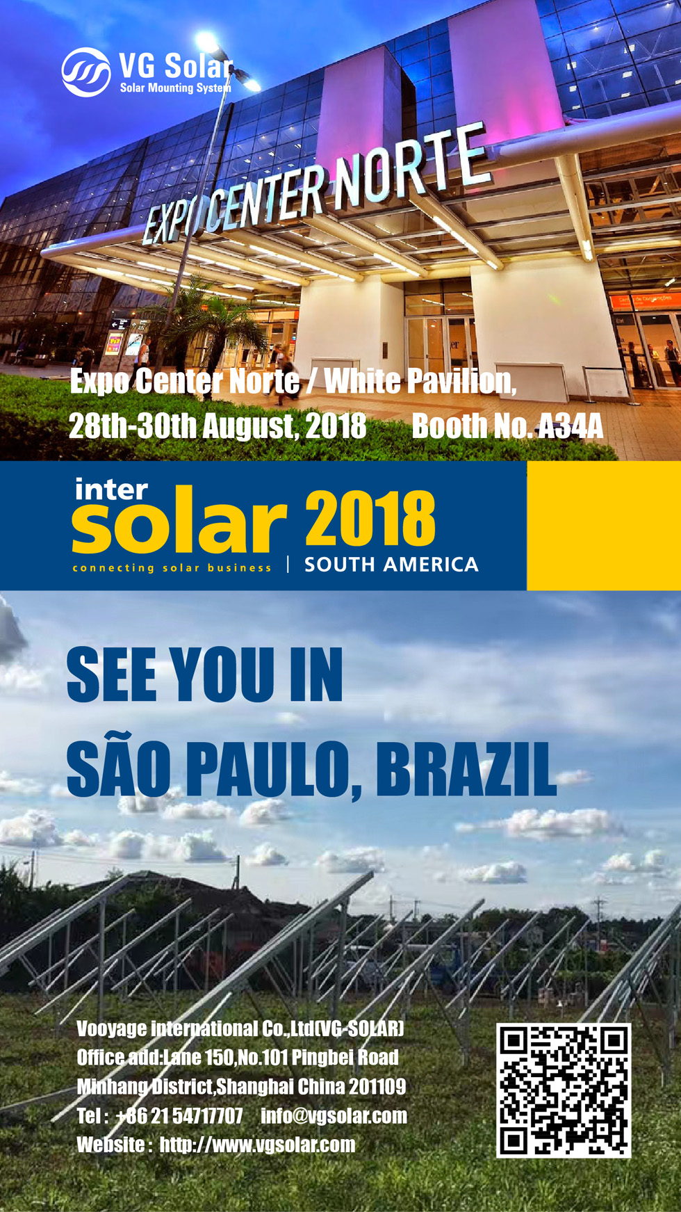 VG Solar was invited to attend the Intersolar South America 2018 which was held in the Expo Center Norte in Sao Paulo, Brazil.